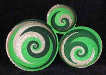 3 Piece African Zulu Telephone Wire Bowl Basket Set - Silver Green