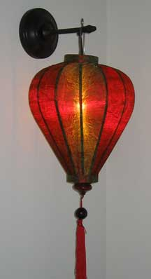 Balloon Shape Thai Silk Lantern - Red/Olive Gold Brocade