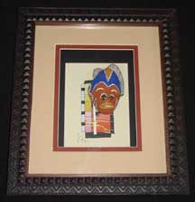 Framed African Art - Handmade African Mini Passport Mask