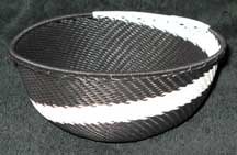 African Zulu Medium Telephone Wire Bowl/Basket (605mtwb4)