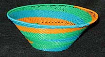 African Zulu Medium Telephone Wire Bowl/Basket -Bright Pastels