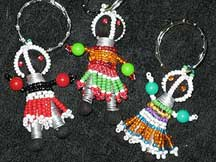 Handbeaded African Zulu Ndebele Mini Dolls - Set #1