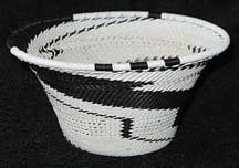 Black/White African Zulu Telephone Wire Bowl/Basket #2