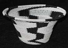 Black/White African Zulu Telephone Wire Bowl/Basket #5