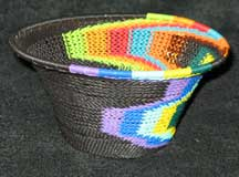 Rainbow and Black African Zulu Telephone Wire Basket/Bowl #2