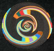 Rainbow and Black African Zulu Telephone Wire Basket/Platter #1