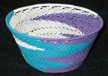 African Zulu Small Telephone Wire Basket/Bowl - White/Teal/Purple