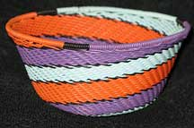 African Zulu Small Telephone Wire Basket/Bowl - Purple/Orange/Aqua