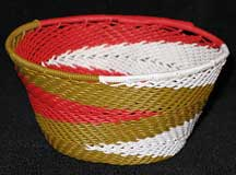 African Zulu Small Telephone Wire Basket/Bowl - Red/White/Brown