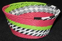African Zulu Small Telephone Wire Basket/Bowl - Pink/Green Fantasy