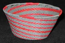 African Zulu Small Telephone Wire Basket/Bowl - Grey/Red Perfect Swirl