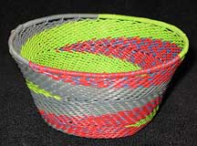 African Zulu Small Telephone Wire Basket/Bowl - Lime/Melon Fantasy