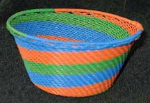 African Zulu Small Telephone Wire Basket/Bowl - Orange/Blue/Green Swirl