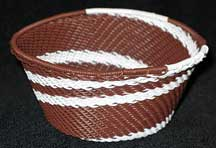 African Zulu Small Telephone Wire Basket/Bowl - Double Cream Coco