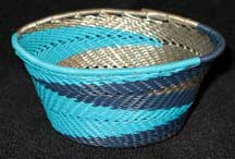 African Zulu Small Telephone Wire Basket/Bowl - Blue Silver