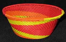 African Zulu Small Telephone Wire Basket/Bowl - Orange Lemonade