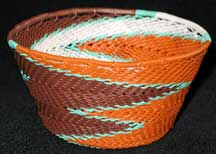 African Zulu Small Telephone Wire Basket/Bowl - Fall Leaves
