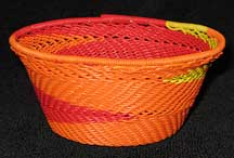 African Zulu Small Telephone Wire Basket/Bowl - Red/Orange/Yellow