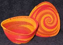 African Zulu Triangle Bowl Telephone Wire Basket/Bowl Set - Candy Corn