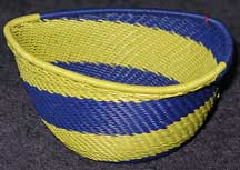African Zulu Triangle Telephone Wire Basket - Navy/Olive