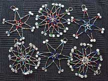 Set of Six (6) Handmade Zulu Star Christmas Ornaments - Glass Bead and Wire
