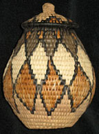Handmade African Zulu Herb Basket - Outlined Diamond