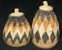 Handmade African Zulu Herb Basket Set - Female/Male Baskets
