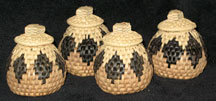 Handmade African Zulu Herb Basket Set - 4 Mini Baskets
