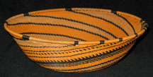 Large African  Zulu Telephone Wire Basket/Bowl - Tiger