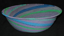 Large African Zulu Telephone Wire Basket/Bowl - Jewels
