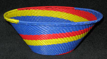 Medium African Zulu Telephone Wire Basket/Bowl - Royal Blue