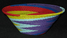 Medium African Zulu Telephone Wire Basket/Bowl - Purple Fantasy