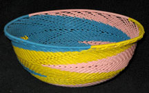 Medium African Zulu Telephone Wire Basket/Bowl - Unusual Pastels