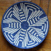 Hand Coiled African Rwanda Basket - Delft Blues