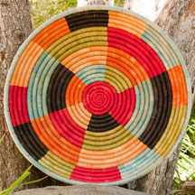 Hand Coiled African Rwanda Basket - Color Blocks