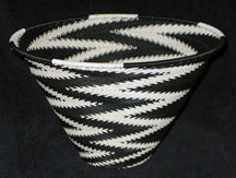 Zulu African Cone Shaped Telephone Wire Basket/Bowl - Black & White Electricity