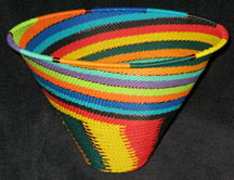Zulu African Cone Shaped Telephone Wire Basket/Bowl - Whirl-A-Gig