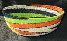 African Zulu Large Telephone Wire Bowl/Basket - Boating Colors