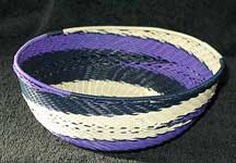 Medium African Zulu Telephone Wire Basket/Bowl - Purple/Navy/Cream