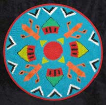"African Zulu Telephone Wire Plate Basket ""Teal Huts"""