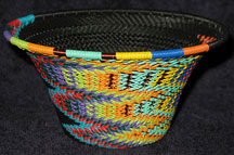 Medium African Zulu Telephone Wire Cone Basket/Bowl  - Knit Fantasy