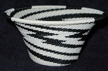 Medium African Zulu Telephone Wire Cone Basket/Bowl  - Electric
