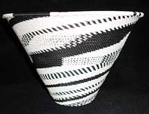 Zulu African Cone Shaped Telephone Wire Basket Bowl - Black/White Fantasy Knit