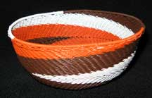 Medium African Zulu Telephone Wire Basket/Bowl - Feathers