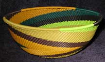 Medium African Zulu Telephone Wire Basket/Bowl - Rain Forest