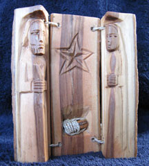 Hand Carved Olivewood African Holy Family Nativity Log