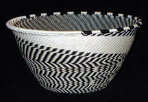 Large Deep Africa Zulu Telephone Wire Basket - Black White Feathers