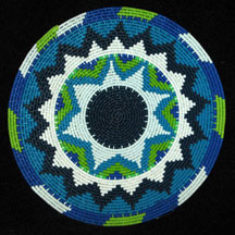 Small African Zulu Telephone Wire Basket/Plate - Blues Greens #1