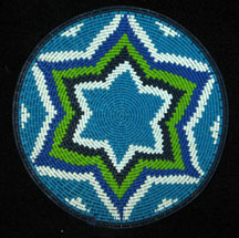 Small African Zulu Telephone Wire Basket/Plate - Blues Greens #2