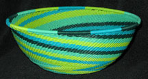 Medium African Zulu Telephone Wire Basket/Bowl - Spring Swirl